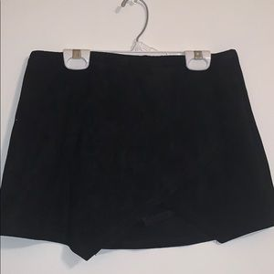 black suede boutique skirt lined with shorts
